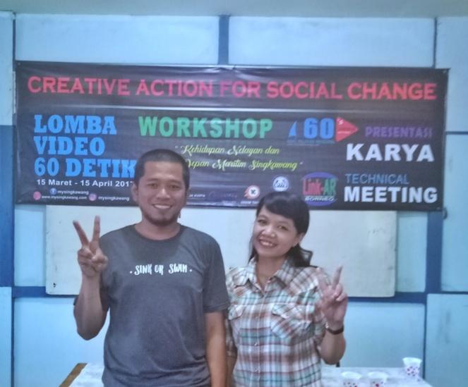 foto dengan ketua pelaksana workshop lomba video 60 detik di singkawang